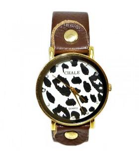 Часы CHALE с кожаным коричневым ремешком