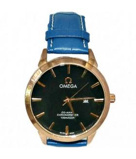 Часы OMEGA с синим кожаным ремешком