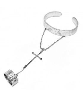 Браслет металлический с кольцом серебристый