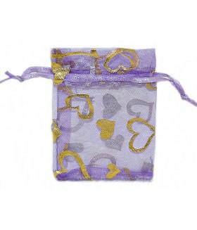 Мешочек подарочный из органзы 6х9 сине-золотистый