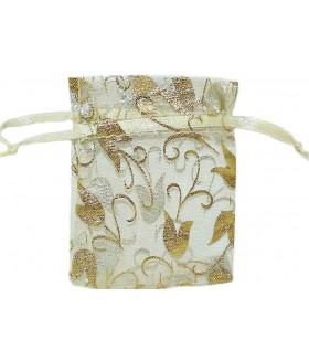 Мешочек подарочный из органзы 6х9 см бело-золотистый