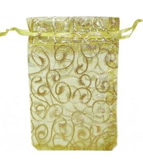 Мешочек подарочный из органзы 9х14,5 зелено-золотистый