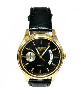 Часы LONGINES с черным кожаным ремешком