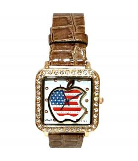 Часы с кожаным коричневым ремешком