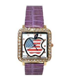 Часы с кожаным фиолетовым ремешком