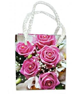 Подарочный пакет маленький с розовыми розами 9 х 8 х 5 см