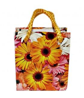 Подарочный пакет маленький с оранжевыми цветами 9 х 8 х 5 см