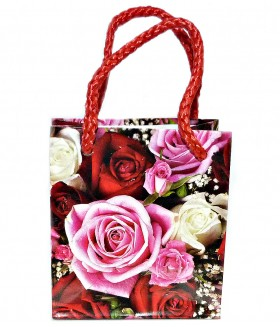 Подарочный пакет маленький с розами 9 х 8 х 5 см