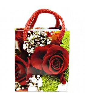 Подарочный пакет маленький с красными розами 9 х 8 х 5 см