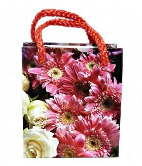 Подарочный пакет маленький с цветами 9 х 8 х 5 см