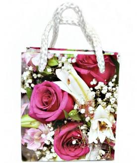 Подарочный пакет маленький с бордовыми розами 9 х 8 х 5 см