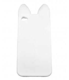 Чехол для iPhone (айфон) 4/4s силиконовый с ушками белый