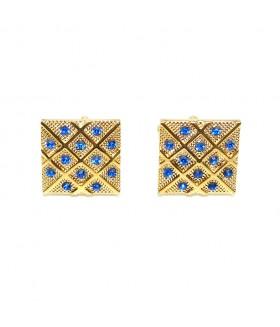 Запонки мужские квадратные золотистые со стразами