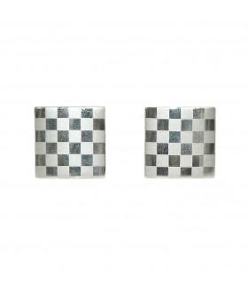 Запонки мужские квадратные серебристые