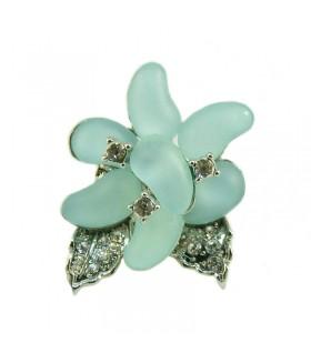 Кольцо цветок голубо-серебристое