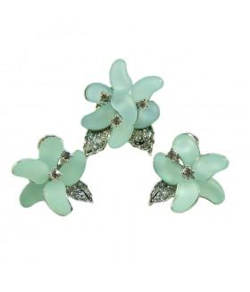 Серьги и кольцо голубо-серебристого цвета комплект