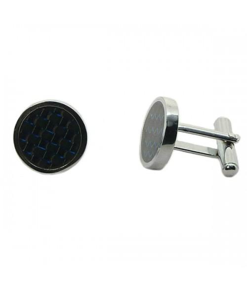Запонки мужские круглые серебристо-черные