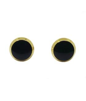 Запонки мужские круглые золотисто-черные