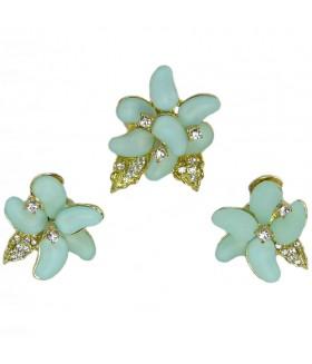 Серьги и кольцо голубо-золотистого цвета комплект