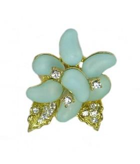Кольцо цветок голубо-золотистое