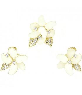 Серьги и кольцо бело-золотистого цвета комплект