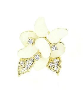 Кольцо цветок бело-золотистое