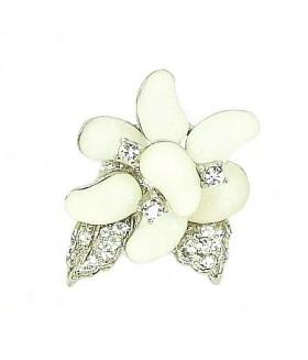 Кольцо цветок бело-серебристое
