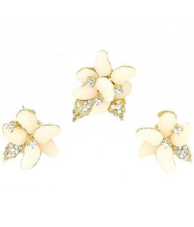 Серьги и кольцо розово-золотистого цвета комплект