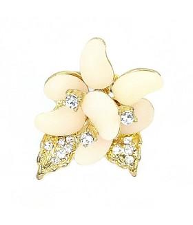 Кольцо цветок розово-золотистое