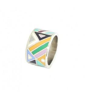 Кольцо с эмалью цветное из стали