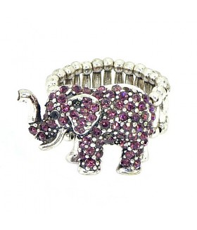 Кольцо слоник со стразами бордовое