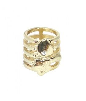 Кольцо широкое золотистое