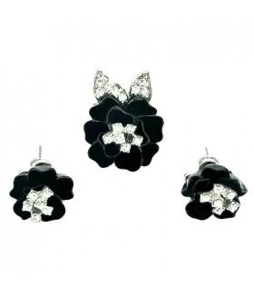 Серьги и кольцо черно-серебристого цвета комплект