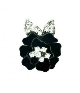 Кольцо цветок черно-серебристое