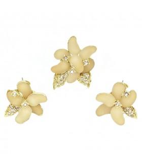 Серьги и кольцо кремово-золотистого цвета комплект