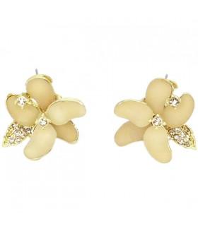 Серьги в виде цветка кремово-золотистые