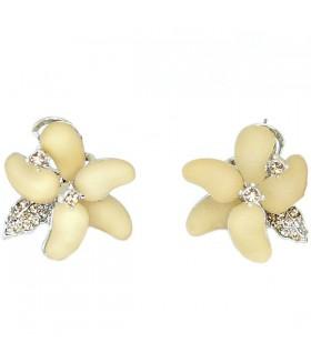 Серьги в виде цветка кремово-серебристые
