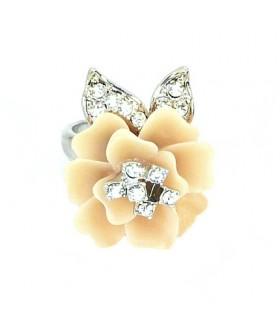 Кольцо цветок кремово-розовое