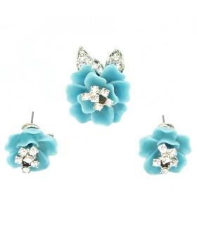 Серьги и кольцо бирюзово-серебристого цвета комплект
