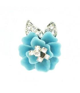Кольцо цветок бирюзово-серебристое
