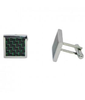 Запонки мужские квадратные серебристо-зеленые