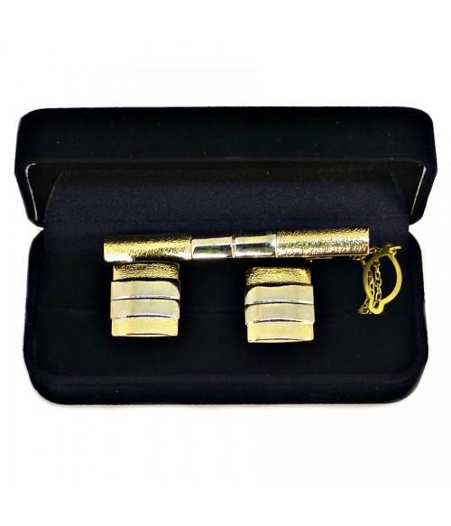 Запонки и зажим для галстука золотистого цвета комплект