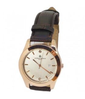Часы Vacheron Constantin с темно-коричневым кожаным ремешком