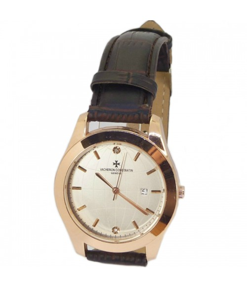 Часы мужские с темно-коричневым кожаным ремешком