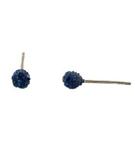Серьги гвоздики из медицинской стали с синими цирконами