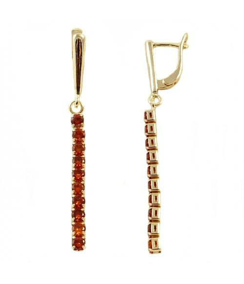 Серьги длинные с красными цирконами позолоченные из стали