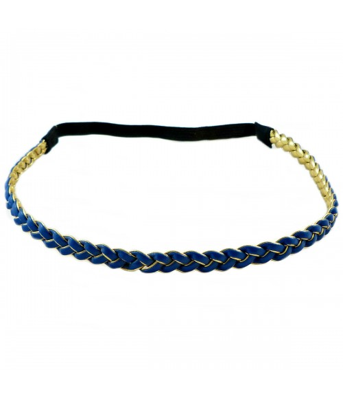 Ободок для греческих причесок двухсторонний сине-золотистый
