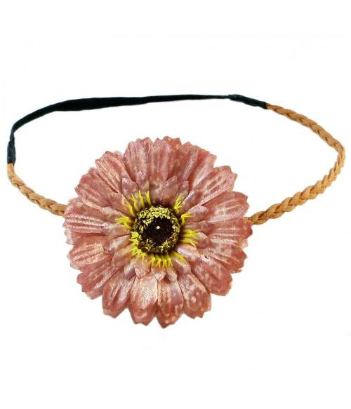 Ободок для греческих причесок с розовым цветком