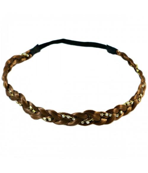Ободок для греческих причесок косичка из искусственных волос коричневый