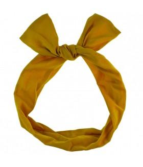 Ободок для волос с ушками горчичного цвета